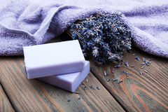 Handmade lavender soap Royalty Free Stock Images