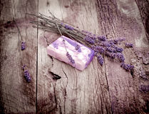 Handmade lavender soap and dry lavender - spa concept Stock Photography