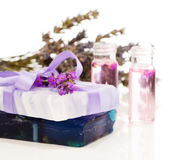 Handmade lavender soap and oil Stock Images