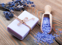 Handmade lavender soap and salt Royalty Free Stock Photography