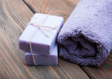 Handmade lavender soap Royalty Free Stock Photography