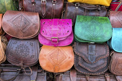 Handmade leather bags, Morocco Stock Images