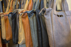 Handmade leather bags Stock Image