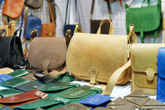 Handmade leather bags at Vilnius Christmas market stock images