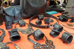 Handmade leather bracelets, belts and bags sold at handicraft market. Handmade leather bracelets, belts and bags sold at street handicraft market stock image