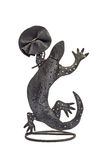 Handmade leather brooch on a vintage metal lizard Stock Photos