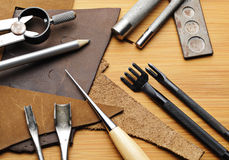 Handmade leather craft tool Royalty Free Stock Image