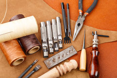 Handmade leather craft tool Stock Images