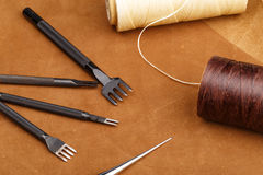 Handmade Leather craft tool Stock Photo