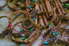 Handmade leather necklaces and bracelets with cinnamon. Displayed in a Turkish Bazaar of Istanbul stock image