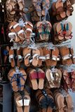 Handmade leather sandals royalty free stock photos