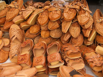 Handmade Leather shoes. And sandals market royalty free stock photo