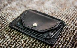 Handmade leather wallet stock photo