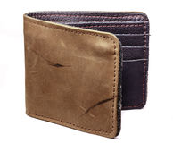 Handmade leather wallet on white background Stock Images