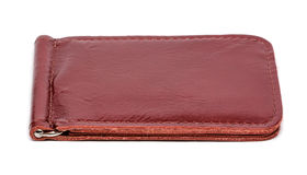 Handmade leather wallet on white background Stock Image