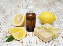 Handmade lemon soap and essential oil Stock Photos