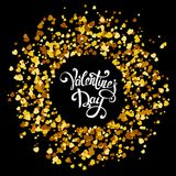 Handmade lettering with circle made of golden hearts. Valentine day pattern with yellow confetti. Vector illustration for holiday on white background Royalty Free Stock Photos