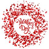 Handmade lettering with circle made of hearts. Valentine day pattern with red confetti. Vector illustration for holiday on white background Stock Photography