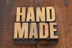 Handmade in letterpress type Royalty Free Stock Photos
