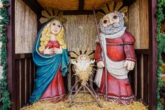 Handmade life-style nativity scene. Our Lady of St. Joseph and Jesus in our college. Prague. stock images