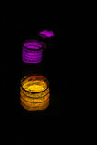 handmade Lighted colored lamps and candles Royalty Free Stock Photography