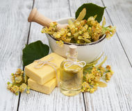 Handmade linden Soap. With linden flowers on a old wooden table Stock Image