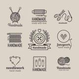 Handmade line vintage logo set Stock Photos