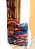 Handmade linens streets Antigua. Handmade linens on the doorway along streets of Antigua Stock Photos