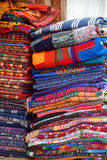 Handmade linens streets Antigua. Handmade linens on the doorway along streets of Antigua Royalty Free Stock Photo