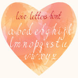 Handmade list miłosny chrzcielnica Ręka rysujący coursive listy Obraz Stock