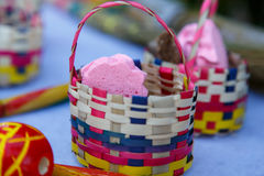 Handmade little baskets with candies inside Royalty Free Stock Photography