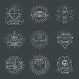 Handmade logo or crafts emblems vintage vector set Stock Image