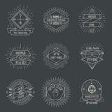 Handmade logo or crafts emblems vintage vector set stock illustration