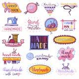 Handmade logo wektorowy szwalny dzianie handcraft hobby logotypu warsztatowy ilustracyjnego ustawiającego szydełkować zwełnionego royalty ilustracja