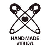 Handmade with love logotype design of two crossed pins. Hand made with love logotype design with two crossed pins and heart between them. Workshop company logo Royalty Free Stock Images