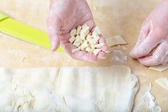 Handmade makaron, nazwany gnocchetti, właśnie tworzący fotografia stock