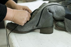 Handmade manufacture of footwear Stock Photo