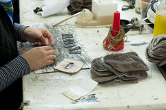 Handmade manufacture of footwear Stock Image