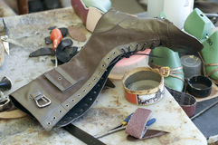 Handmade manufacture of footwear.Unfinished boot Royalty Free Stock Image