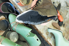 Handmade manufacture of footwear.Unfinished boot Stock Images