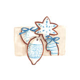 Handmade marker drawn illustration of white and blue gingerbread. Festive painted gingerbread cookies. Isolated tasty gingerbread on white background. Can be Royalty Free Stock Image