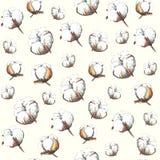 Handmade marker drawn pattern of cotton on beige background. stock illustration