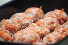 Handmade meatballs with carrot before bakery. royalty free stock photography