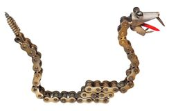 Handmade mechanic decorative snake. Reptile made of motorcycle p. Arts: chain, bearings, screws. Artistic object painted on gold isolated on a white background stock image