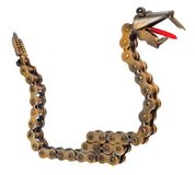 Handmade mechanic decorative snake. Reptile made of motorcycle p Royalty Free Stock Photos