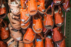 Handmade mexican leather children shoes and Royalty Free Stock Photography