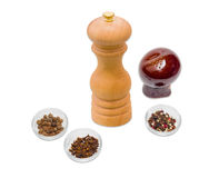 Handmade mill for spices, pepper shaker, clove and pepper Royalty Free Stock Images