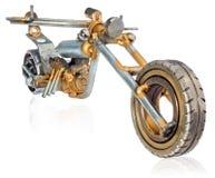 Handmade miniatura siekacza motocykl Dekoracyjny pojazd robić machinalne części, pelengi, druty, samochodowe świeczki, śruby, śli Obraz Royalty Free