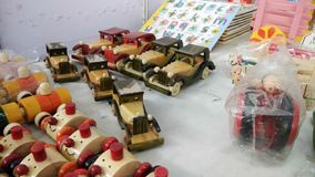 Handmade miniature wooden toy cars royalty free stock photos