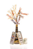 Handmade money tree Stock Photo